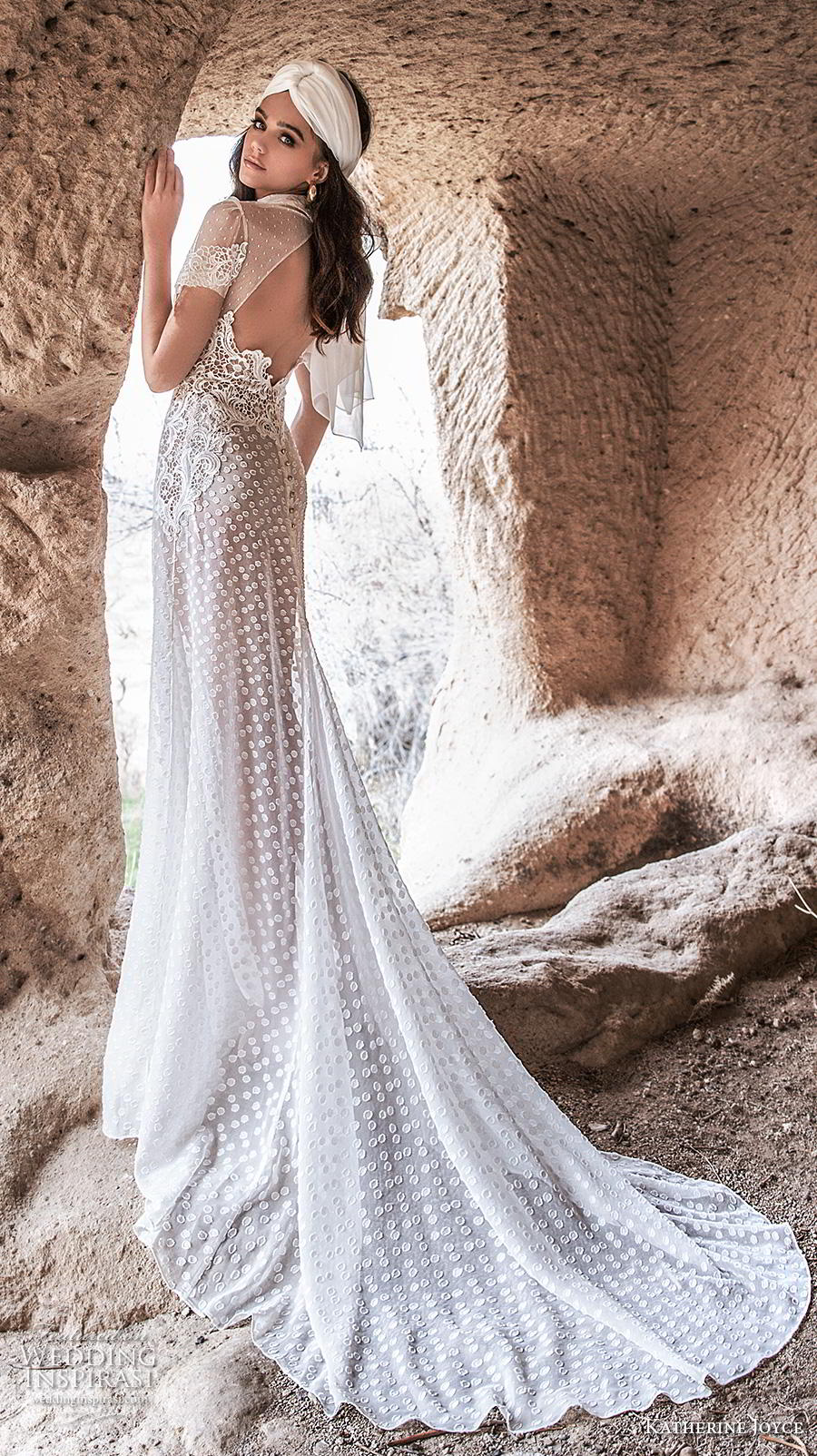 katherine joyce 2020 bridal short sleeves high collar neck slit bodice full embellishment bohemian soft a  line wedding dress keyhole back chapel train (8) bv