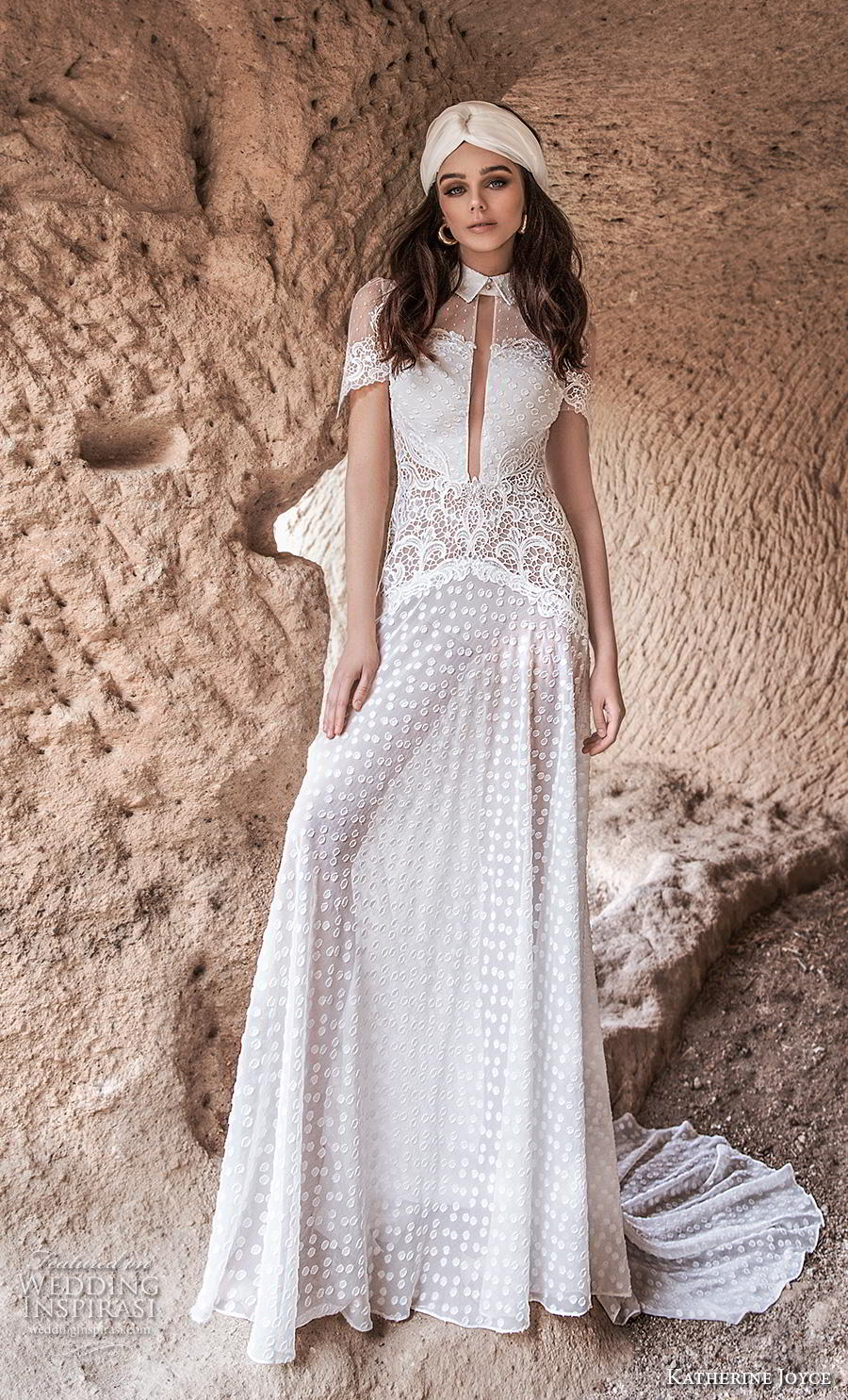 katherine joyce 2020 bridal short sleeves high collar neck slit bodice full embellishment bohemian soft a  line wedding dress keyhole back chapel train (8) mv