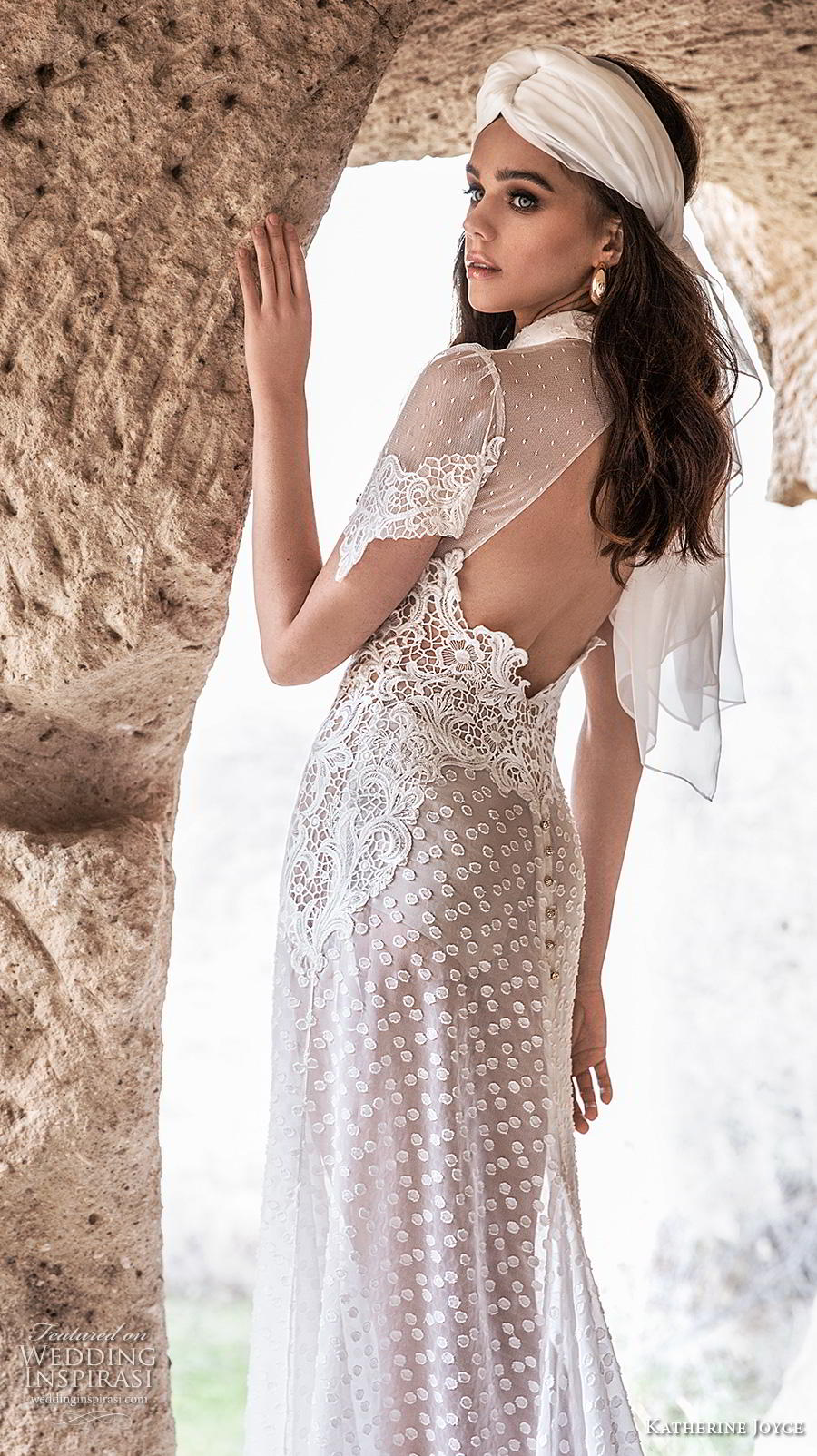 katherine joyce 2020 bridal short sleeves high collar neck slit bodice full embellishment bohemian soft a  line wedding dress keyhole back chapel train (8) zbv