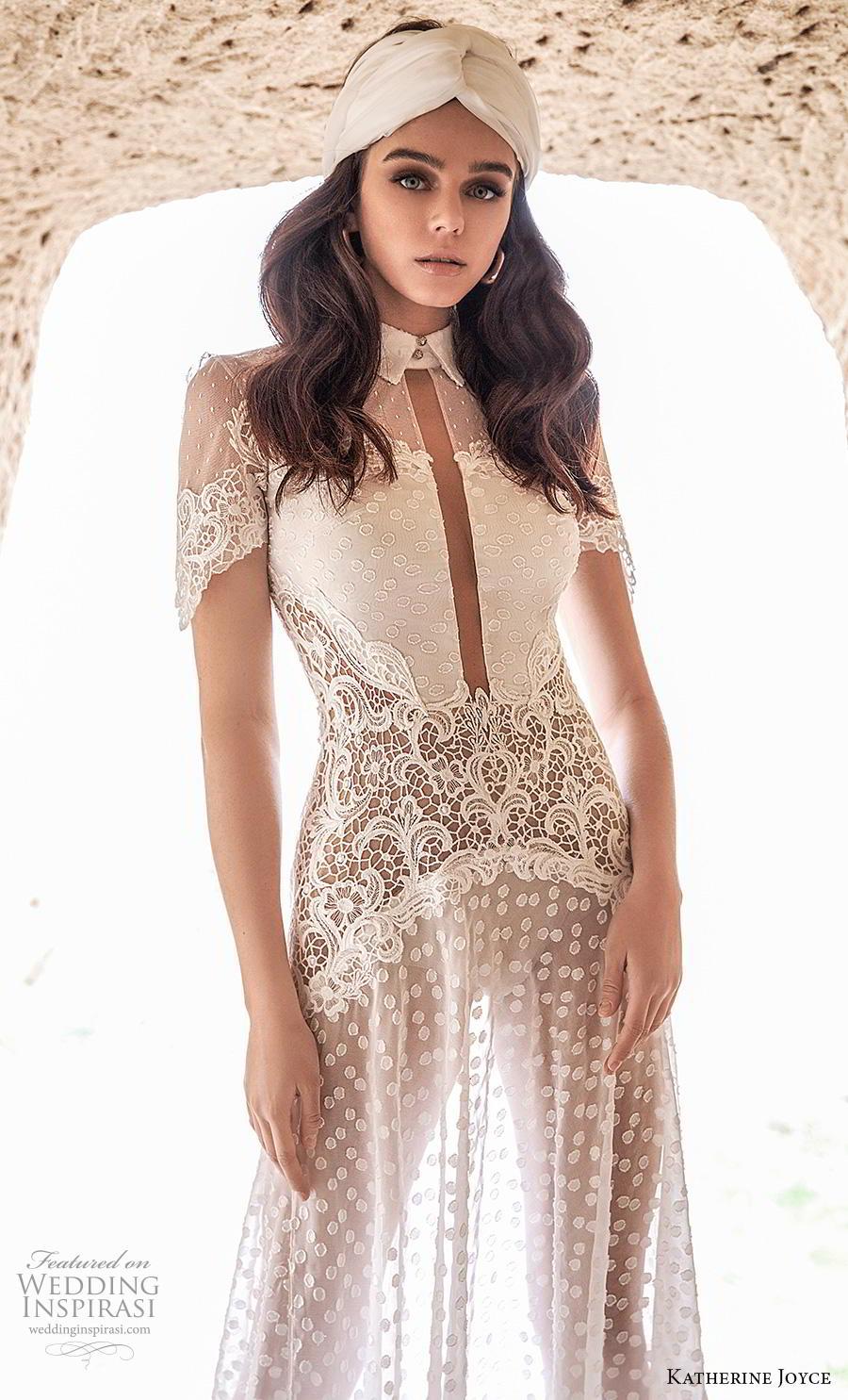 katherine joyce 2020 bridal short sleeves high collar neck slit bodice full embellishment bohemian soft a  line wedding dress keyhole back chapel train (8) zv