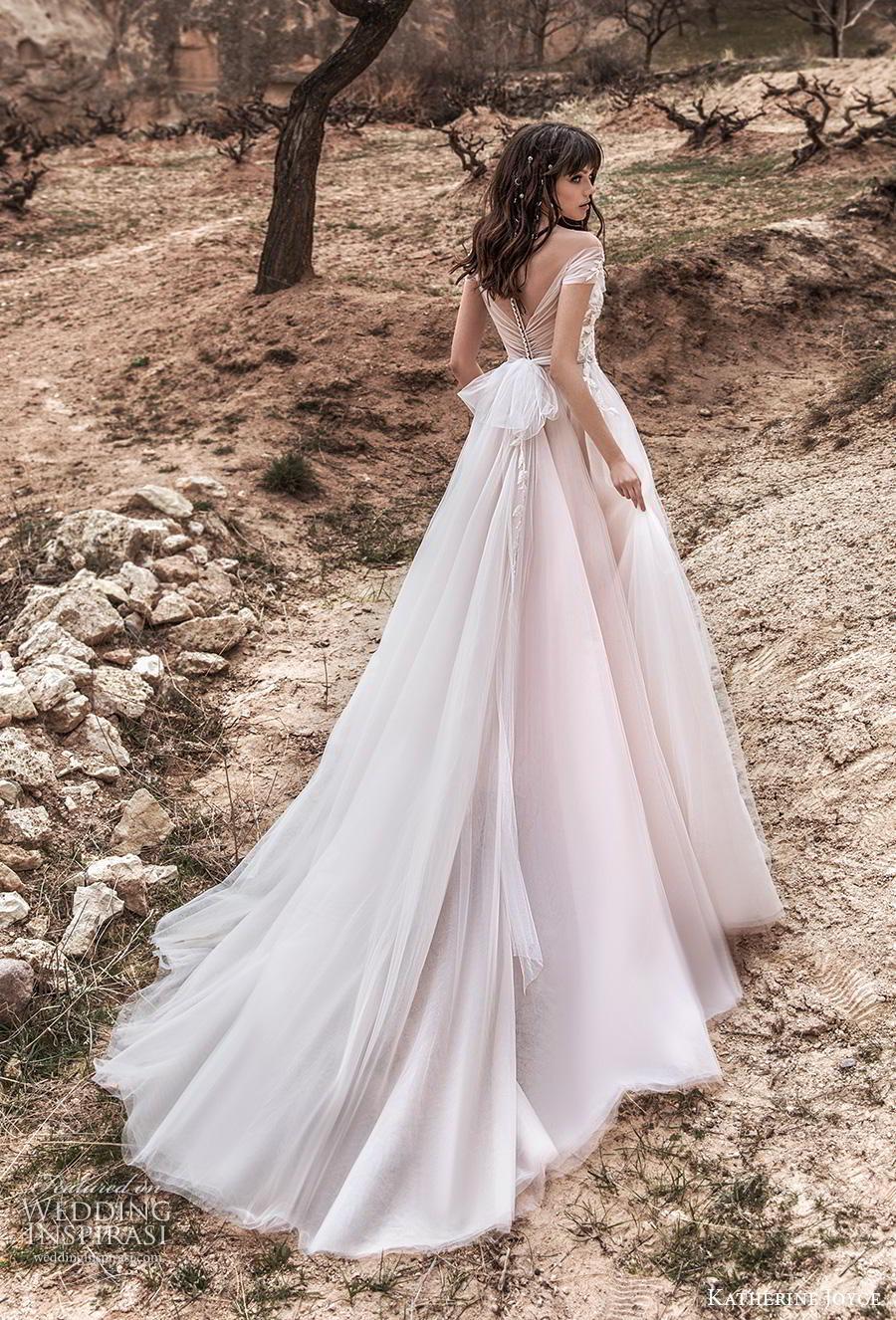 katherine joyce 2020 bridal short sleeves v neck heavily embellished bodice romantic blush a  line wedding dress sheer button back chapel train (4) bv