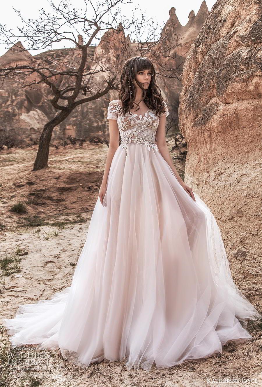 katherine joyce 2020 bridal short sleeves v neck heavily embellished bodice romantic blush a  line wedding dress sheer button back chapel train (4) mv