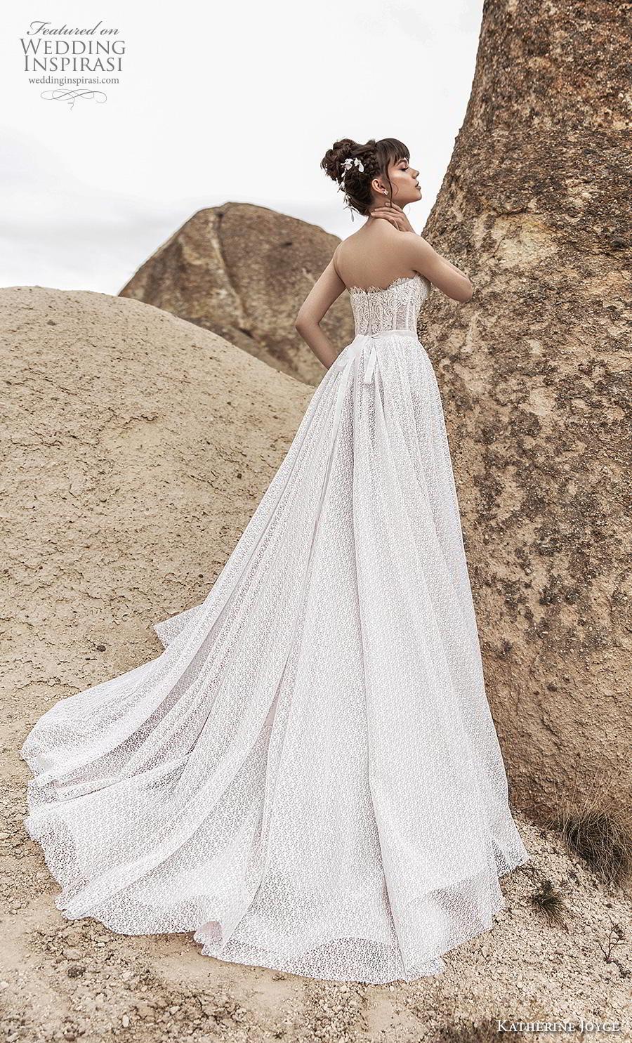 katherine joyce 2020 bridal strapless sweetheart neckline full embellishment bustier romantic a  line wedding dress mid back chapel train (10) bv