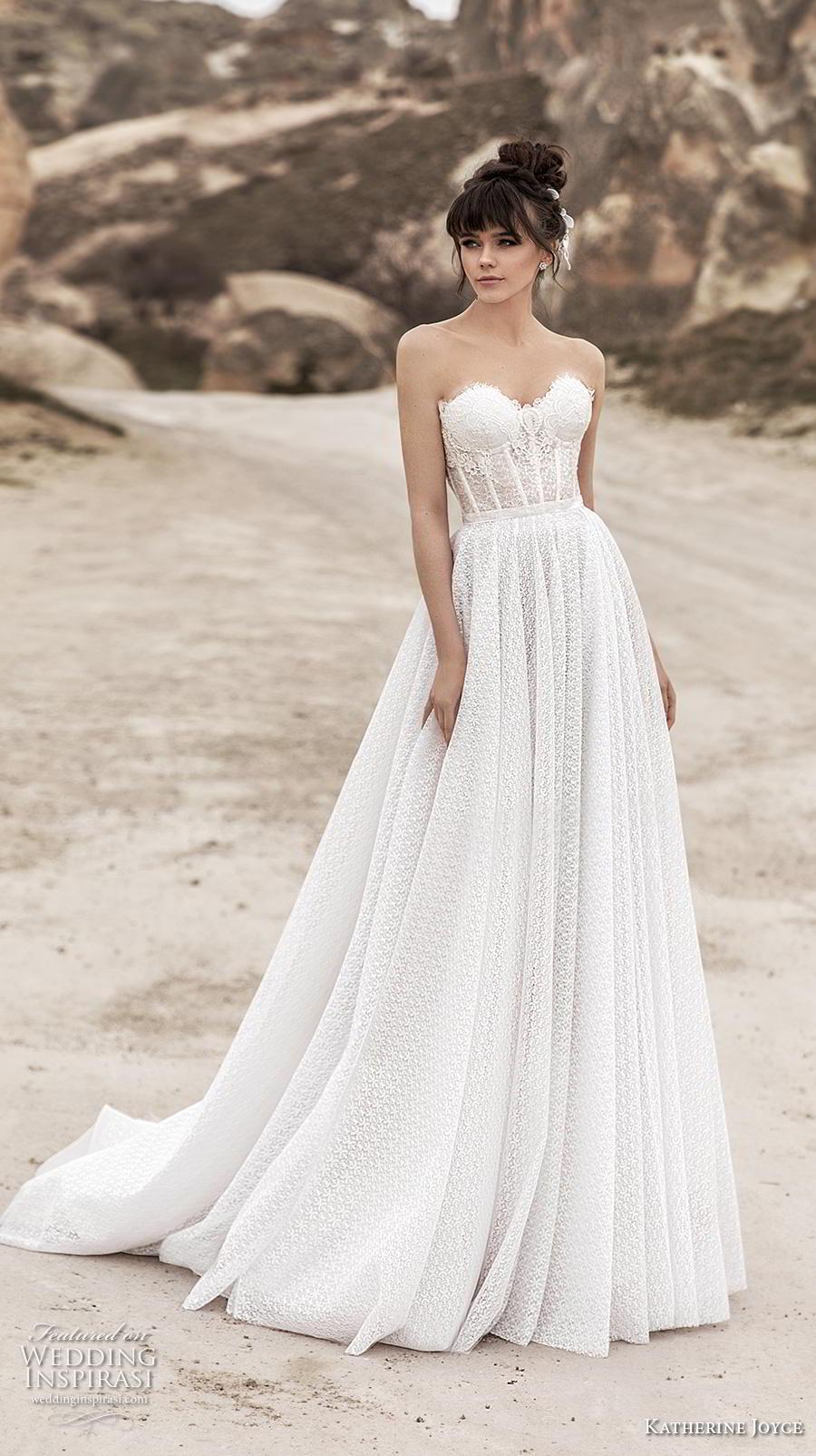 katherine joyce 2020 bridal strapless sweetheart neckline full embellishment bustier romantic a  line wedding dress mid back chapel train (10) mv
