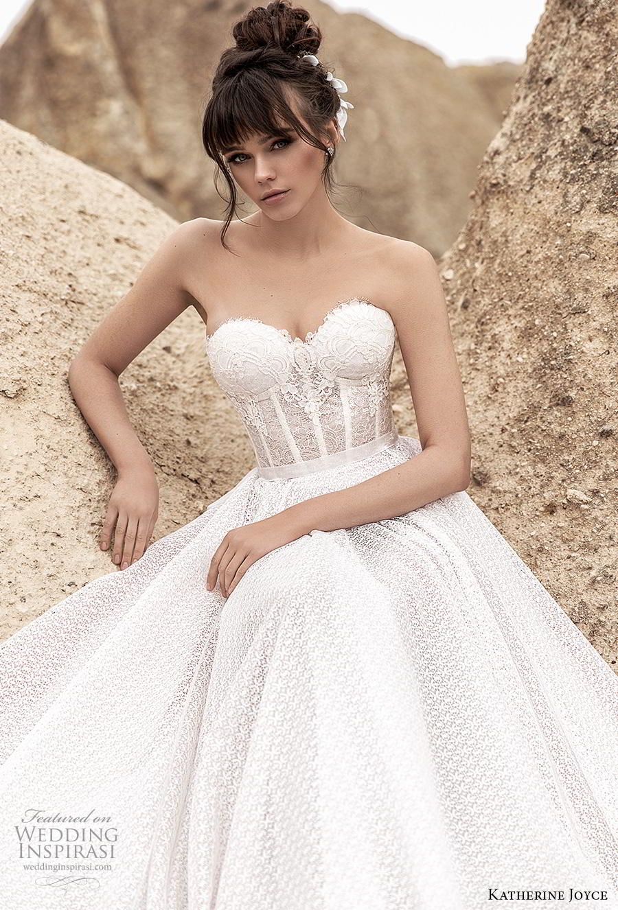 katherine joyce 2020 bridal strapless sweetheart neckline full embellishment bustier romantic a  line wedding dress mid back chapel train (10) zv