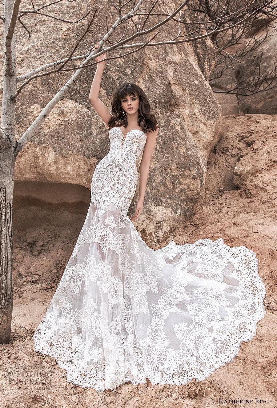 katherine joyce 2020 bridal strapless sweetheart neckline full embellishment elegant romantic fit and flare wedding dress mid back chapel train (11) mv