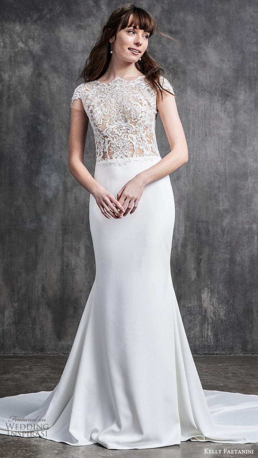 kelly faetanini spring 2020 bridal cap sleeves illusion bodice bateau neckline sheer lace bodice fit flare sheath mermaid wedding dress (1) elegant romantic chapel train mv
