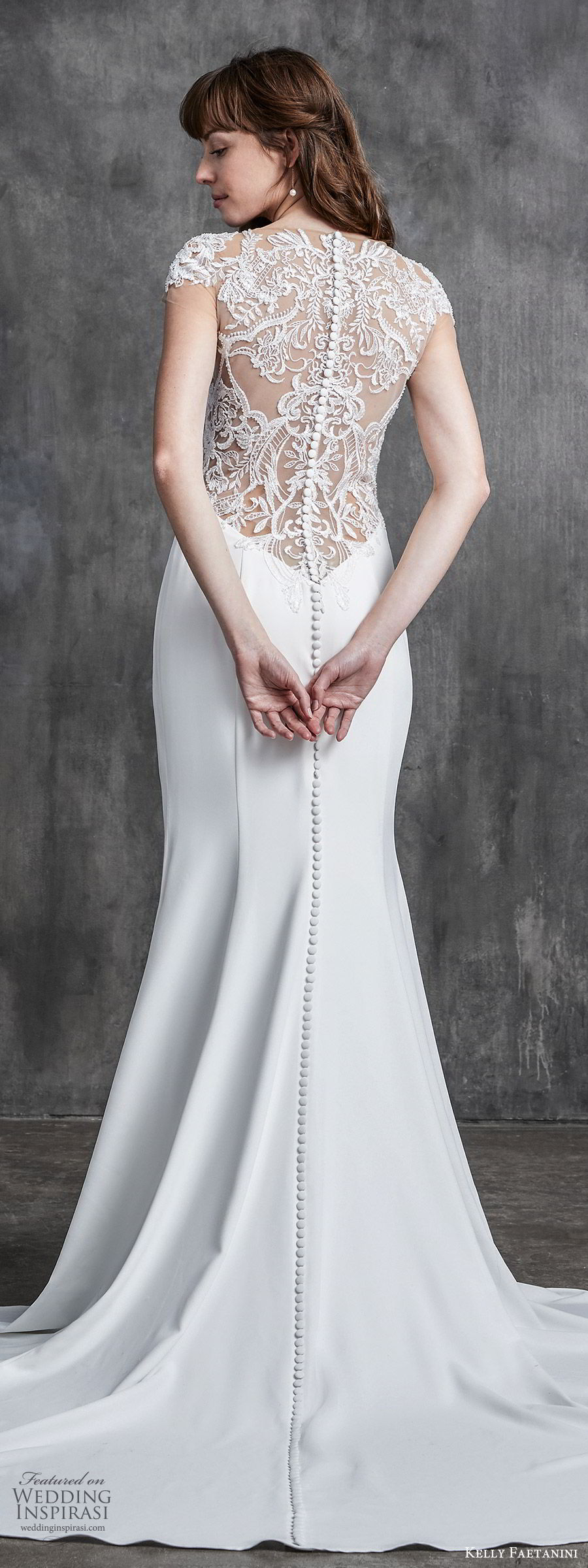 kelly faetanini spring 2020 bridal cap sleeves illusion bodice bateau neckline sheer lace bodice fit flare sheath mermaid wedding dress (1) elegant romantic sheer back chapel train lv