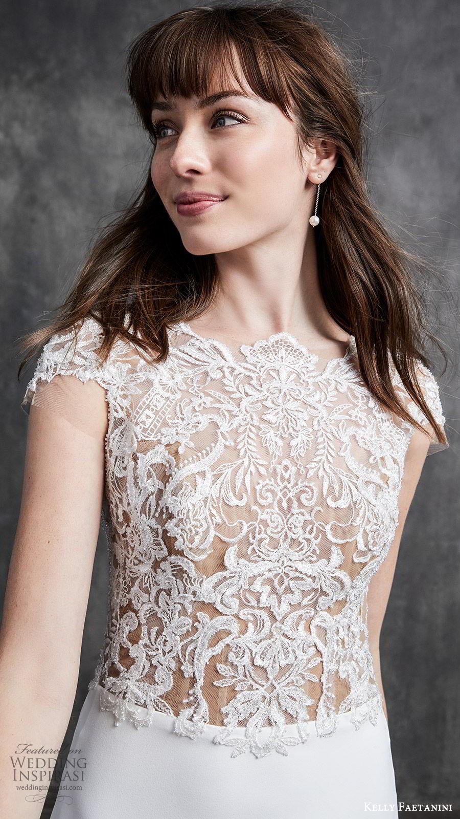 kelly faetanini spring 2020 bridal cap sleeves illusion bodice bateau neckline sheer lace bodice fit flare sheath mermaid wedding dress (1) elegant romantic sheer back chapel train zv