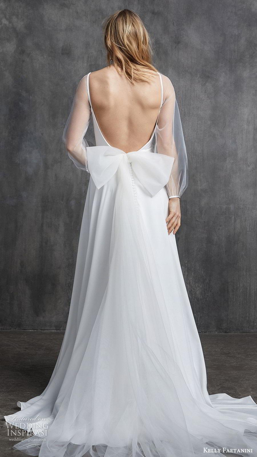 kelly faetanini spring 2020 bridal illusion bishop sleeves bateau neckline a line minimally embellished simple wedding dress (11) chapel train clean modern bv