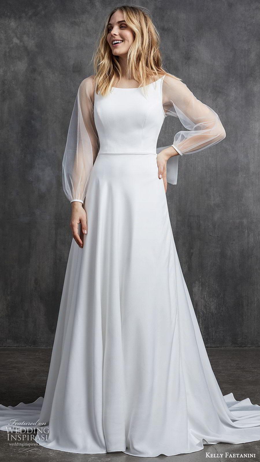 kelly faetanini spring 2020 bridal illusion bishop sleeves bateau neckline a line minimally embellished simple wedding dress (11) chapel train clean modern mv