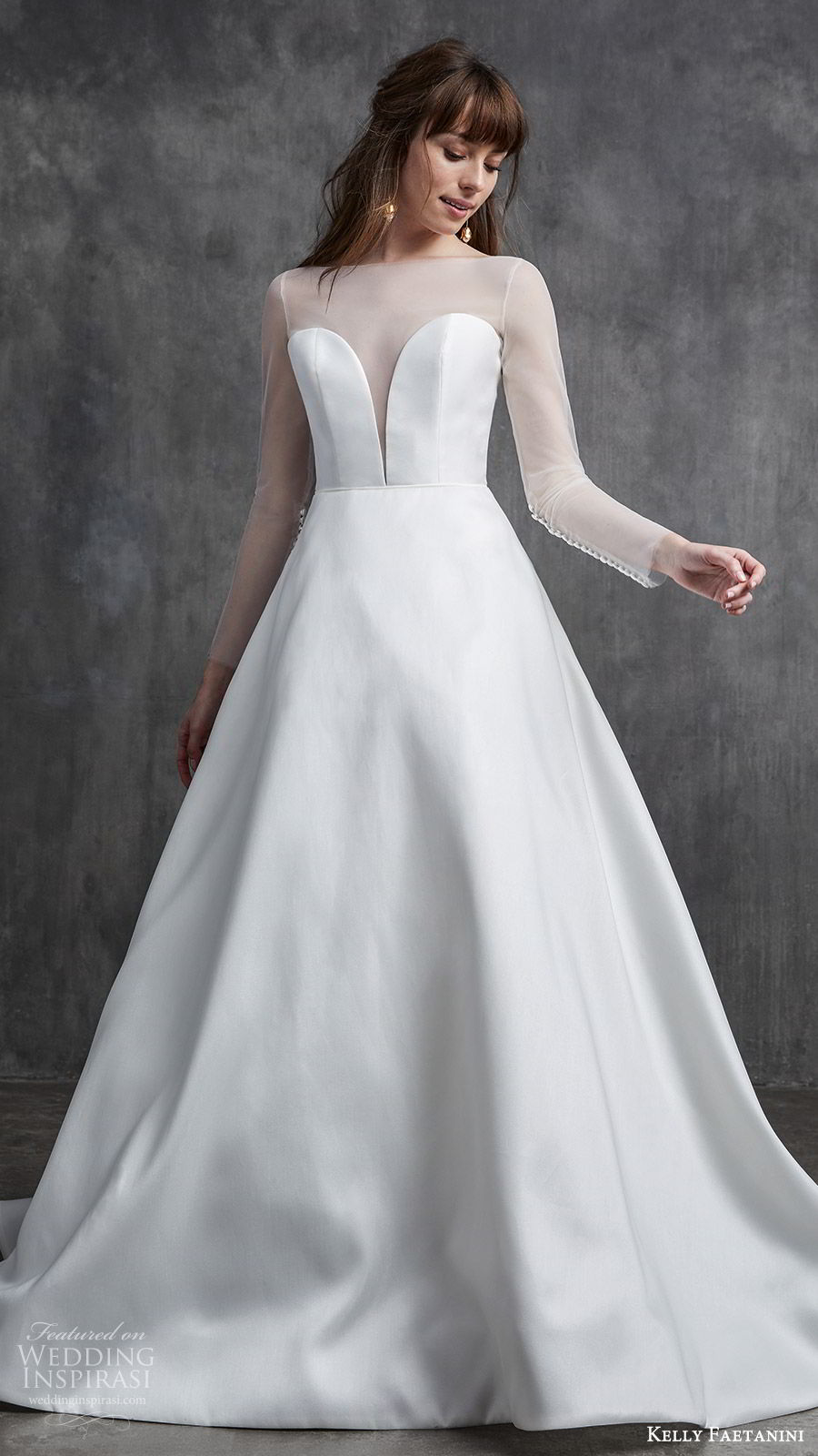 kelly faetanini spring 2020 bridal illusion long sleeves sheer bateau neck split sweetheart neckline a line ball gown wedding dress (4) princess elegant mv