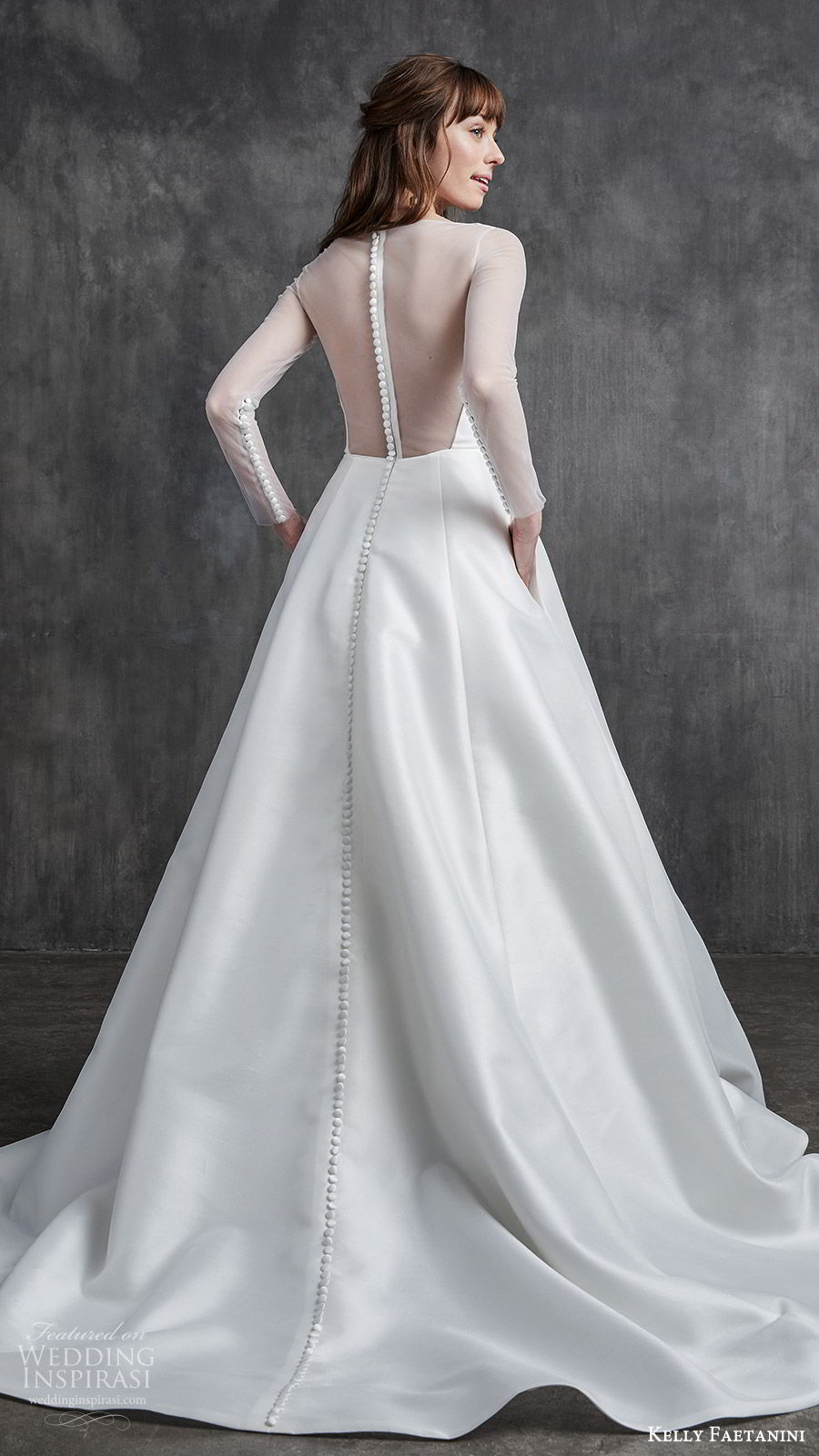 kelly faetanini spring 2020 bridal illusion long sleeves sheer bateau neck split sweetheart neckline a line ball gown wedding dress (4) princess elegant sheer back chapel train bv