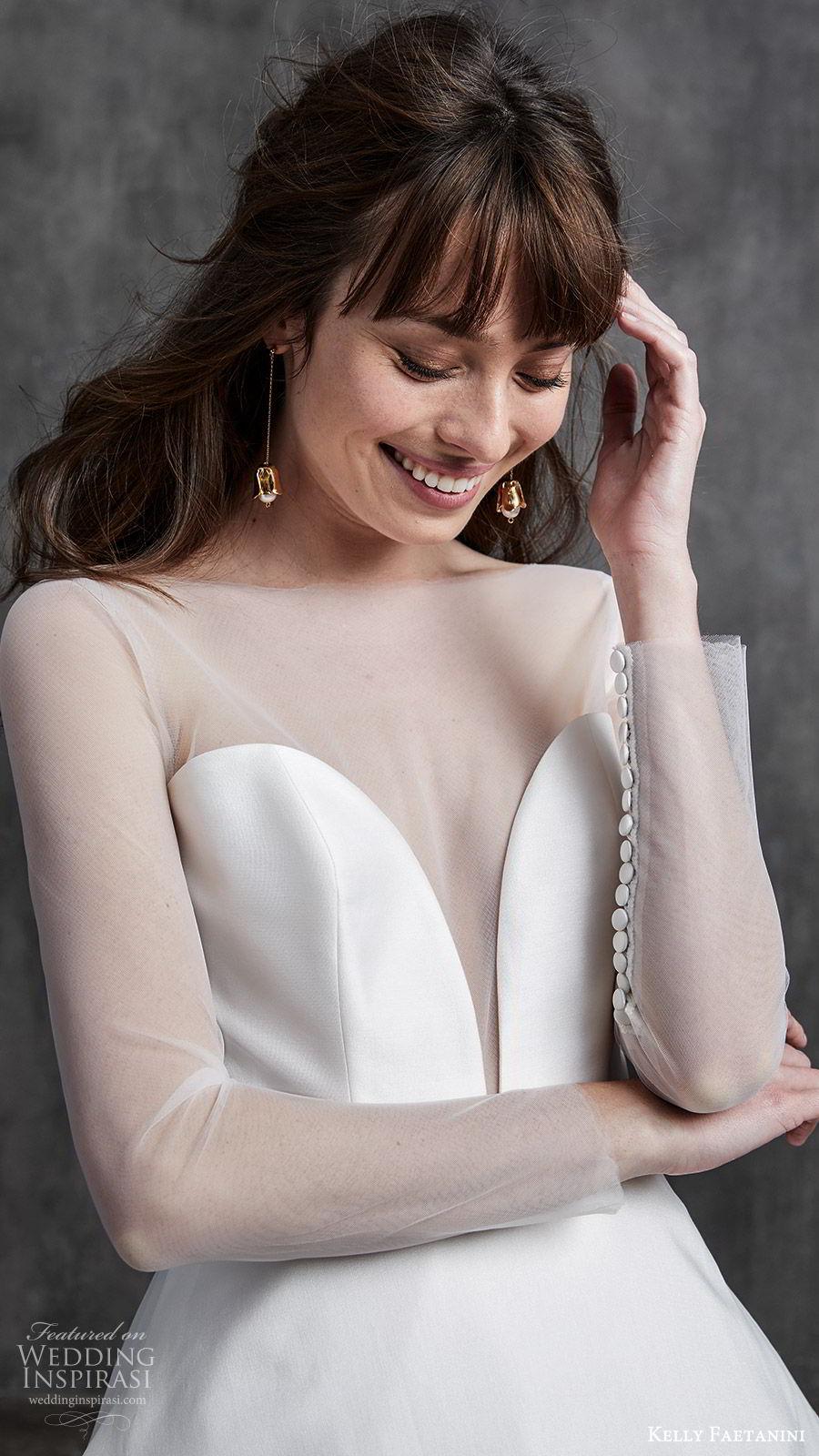 kelly faetanini spring 2020 bridal illusion long sleeves sheer bateau neck split sweetheart neckline a line ball gown wedding dress (4) princess elegant zv