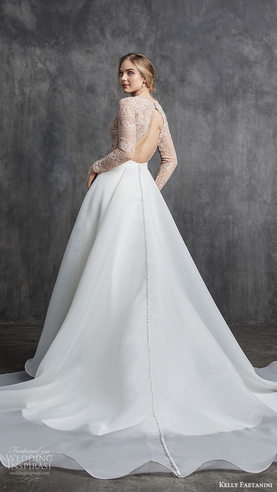 kelly faetanini spring 2020 bridal illusion long sleeves v neckline lace bodice fit flare modified a line ball gown wedding dress (2) chapel train elegant nude color keyhole back bv