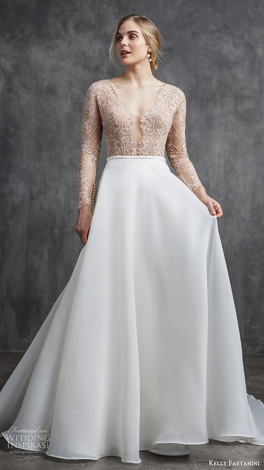 kelly faetanini spring 2020 bridal illusion long sleeves v neckline lace bodice fit flare modified a line ball gown wedding dress (2) chapel train elegant nude color mv