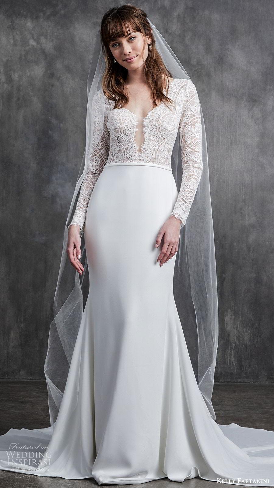 kelly faetanini spring 2020 bridal illusion long sleeves v neckline lace bodice fit flare modified a line mermaid wedding dress (2) chapel train elegant mv