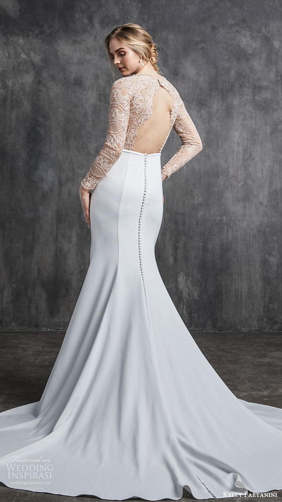 kelly faetanini spring 2020 bridal illusion long sleeves v neckline lace bodice fit flare modified a line mermaid wedding dress (2) chapel train elegant nude color keyhole back bv