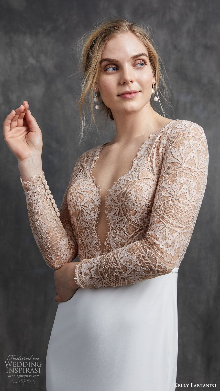 kelly faetanini spring 2020 bridal illusion long sleeves v neckline lace bodice fit flare modified a line mermaid wedding dress (2) chapel train elegant nude color keyhole back zv