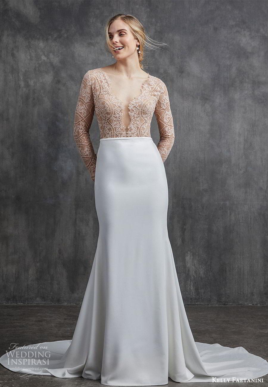 kelly faetanini spring 2020 bridal illusion long sleeves v neckline lace bodice fit flare modified a line mermaid wedding dress (2) chapel train elegant nude color mv