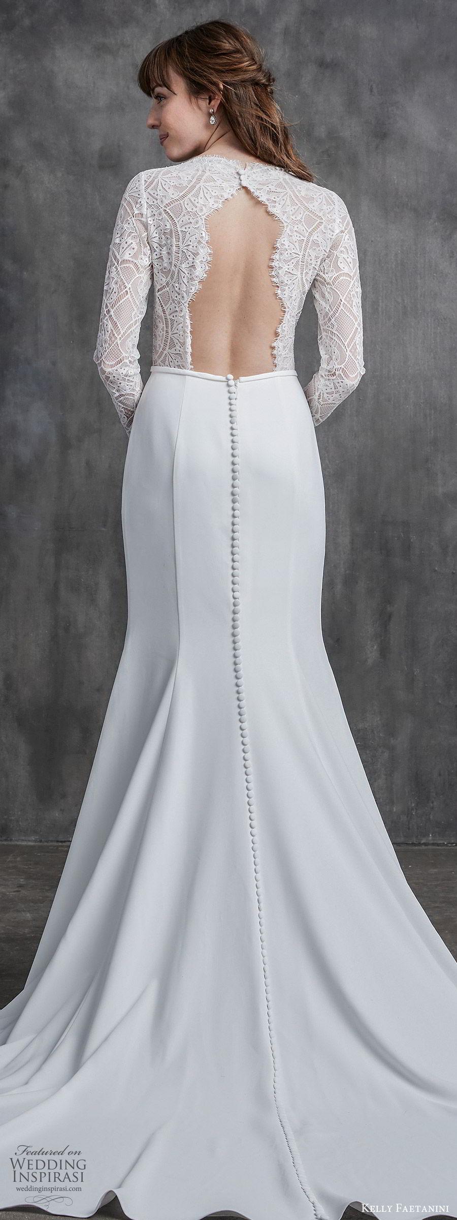 kelly faetanini spring 2020 bridal illusion long sleeves v neckline lace bodice fit flare modified a line mermaid wedding dress (2) chapel train elegant zbv