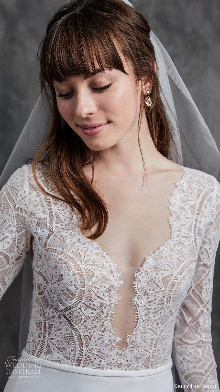 kelly faetanini spring 2020 bridal illusion long sleeves v neckline lace bodice fit flare modified a line mermaid wedding dress (2) chapel train elegant zv