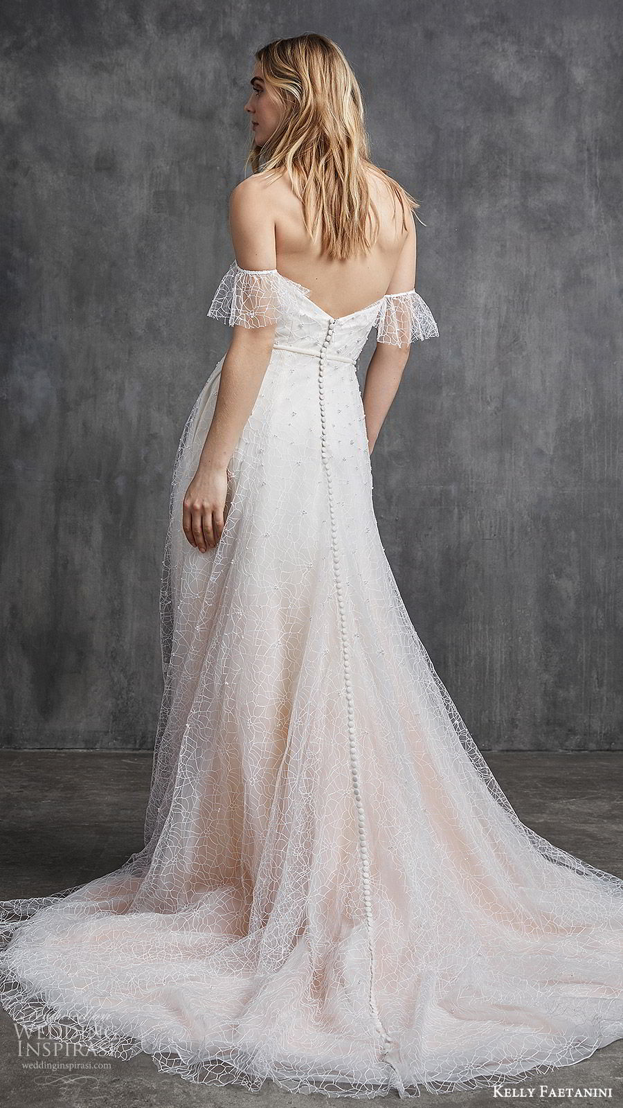 kelly faetanini spring 2020 bridal off shoulder illusion flutter sleeves sweetheart fully embellished a line ball gown wedding dress (7) ombre blush chapel train bv