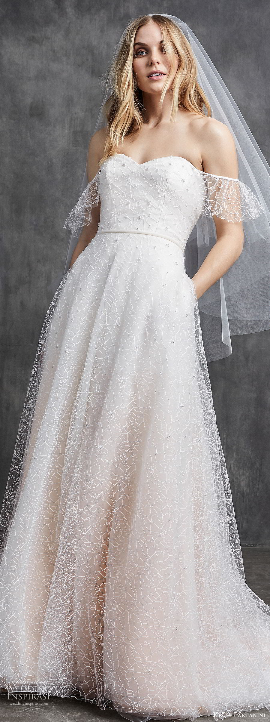 kelly faetanini spring 2020 bridal off shoulder illusion flutter sleeves sweetheart fully embellished a line ball gown wedding dress (7) ombre blush chapel train lv