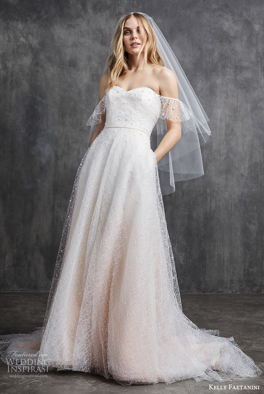 kelly faetanini spring 2020 bridal off shoulder illusion flutter sleeves sweetheart fully embellished a line ball gown wedding dress (7) ombre blush chapel train mv