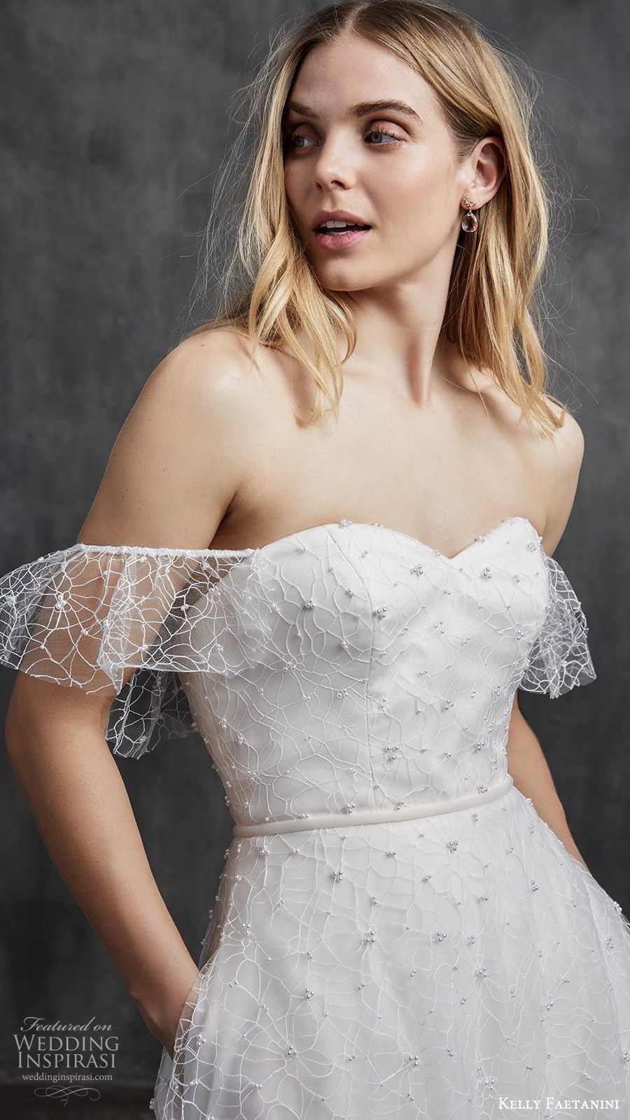 kelly faetanini spring 2020 bridal off shoulder illusion flutter sleeves sweetheart fully embellished a line ball gown wedding dress (7) ombre blush chapel train zv