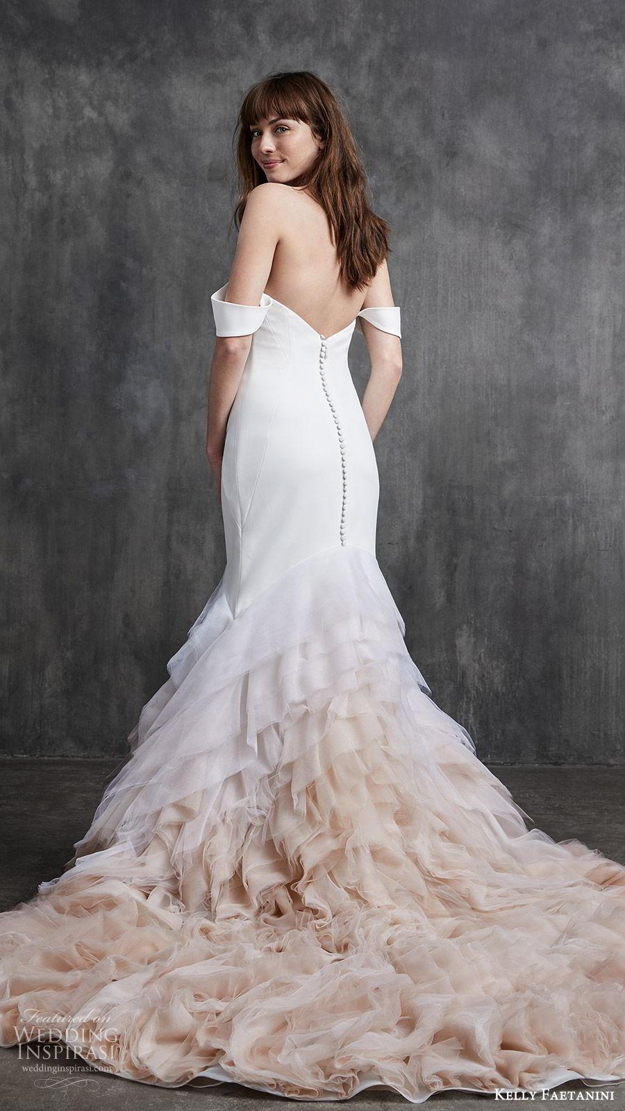 kelly faetanini spring 2020 bridal off shoulder split sweetheart neckline fit flare mermaid ruffle skirt wedding dress (5) clean chapel train ombre blush bv