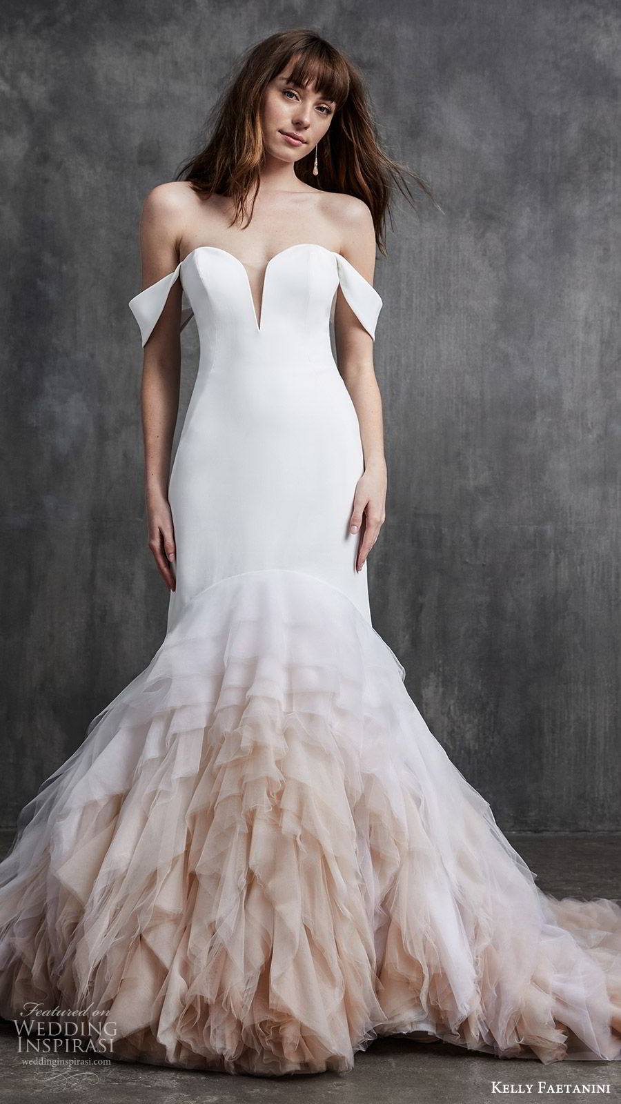 kelly faetanini spring 2020 bridal off shoulder split sweetheart neckline fit flare mermaid ruffle skirt wedding dress (5) clean chapel train ombre blush mv