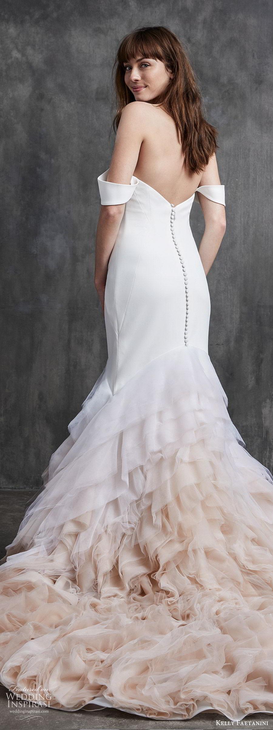 kelly faetanini spring 2020 bridal off shoulder split sweetheart neckline fit flare mermaid ruffle skirt wedding dress (5) clean chapel train ombre blush zbv