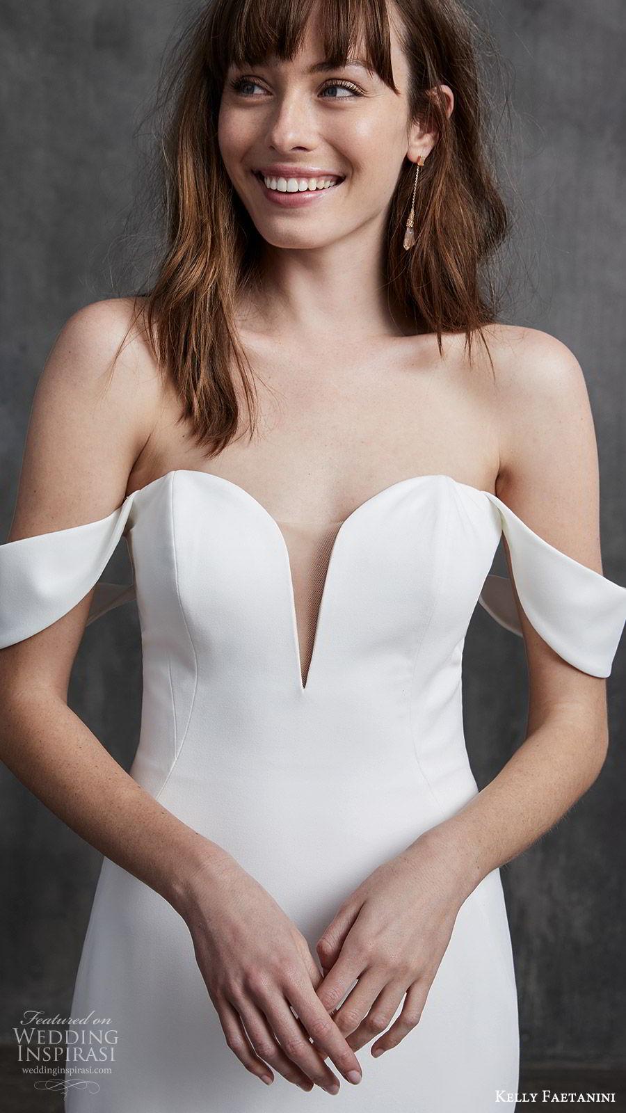 kelly faetanini spring 2020 bridal off shoulder split sweetheart neckline fit flare mermaid ruffle skirt wedding dress (5) clean chapel train ombre blush zv