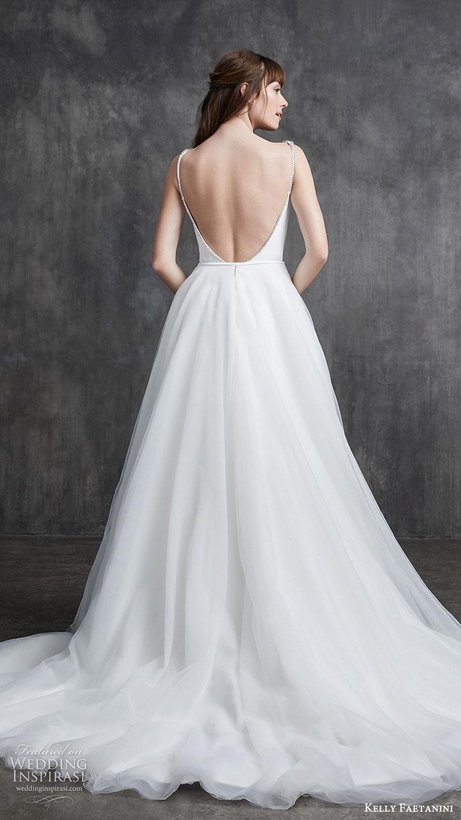 kelly faetanini spring 2020 bridal sleeveless beaded straps bateau neckline sheath wedding dress (10) ball gown overskirt low open back chapel train clean minimalist bv