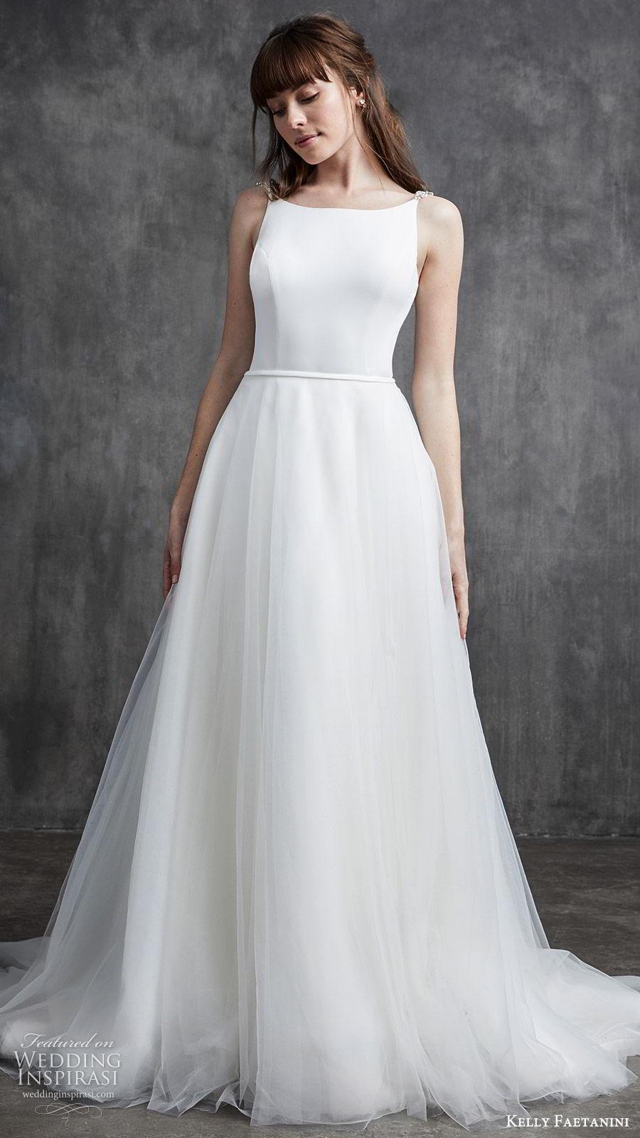kelly faetanini spring 2020 bridal sleeveless beaded straps bateau neckline sheath wedding dress (10) ball gown overskirt low open back chapel train clean minimalist mv