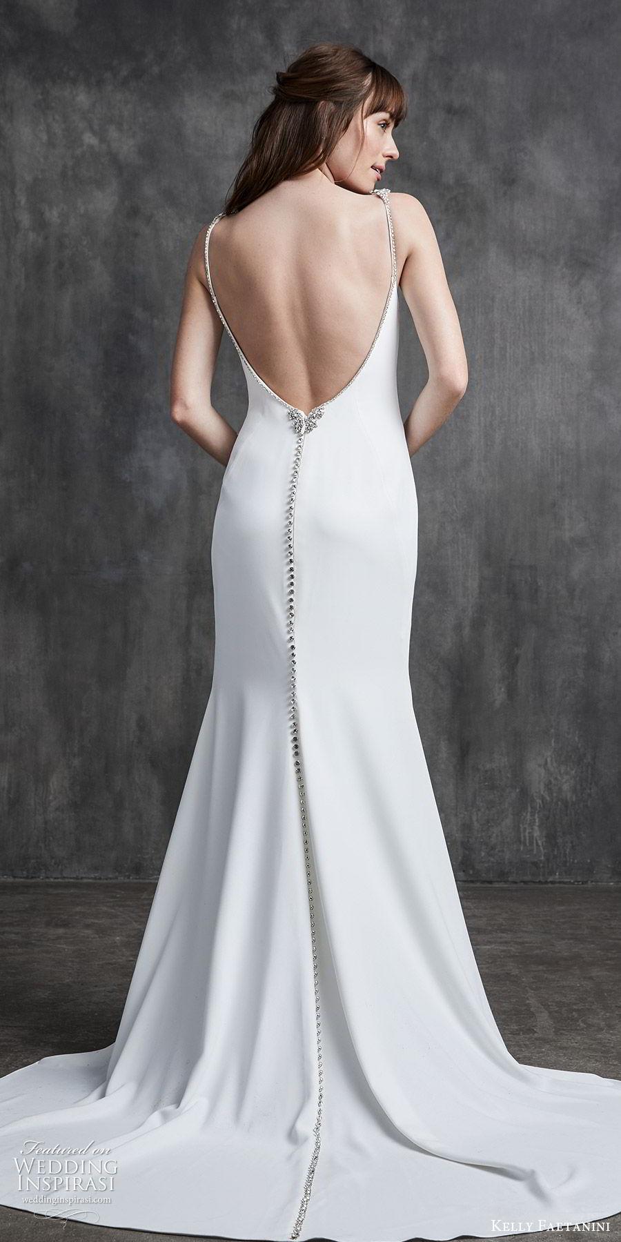kelly faetanini spring 2020 bridal sleeveless beaded straps bateau neckline sheath wedding dress (10) low open back chapel train clean minimalist bv