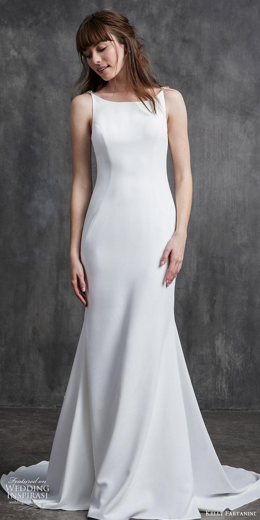 kelly faetanini spring 2020 bridal sleeveless beaded straps bateau neckline sheath wedding dress (10) low open back chapel train clean minimalist mv