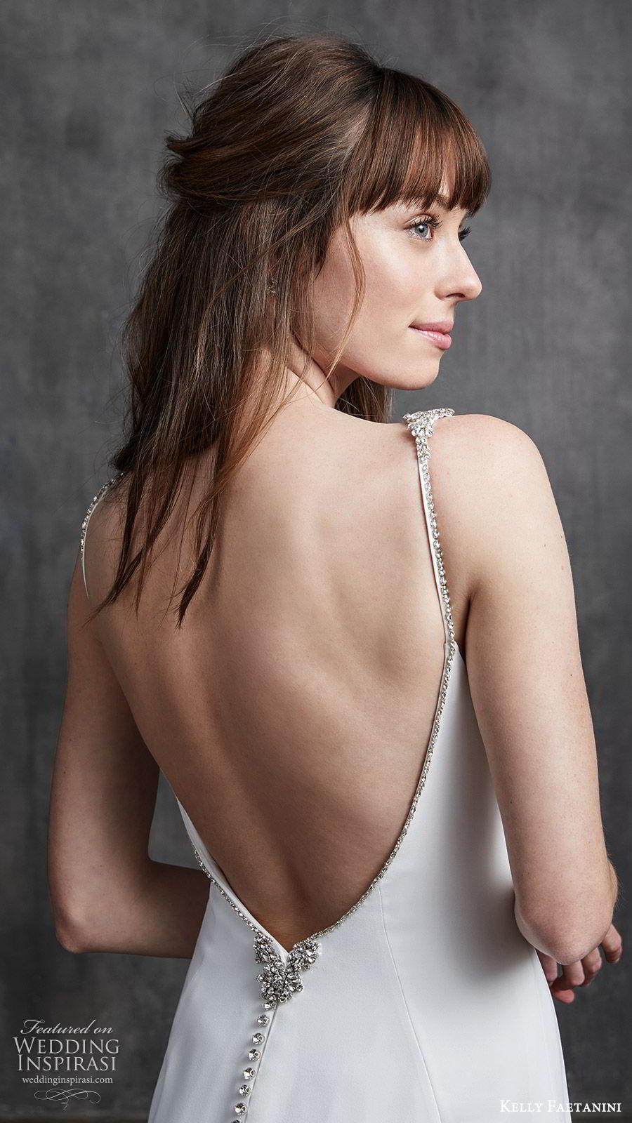 kelly faetanini spring 2020 bridal sleeveless beaded straps bateau neckline sheath wedding dress (10) low open back chapel train clean minimalist zbv