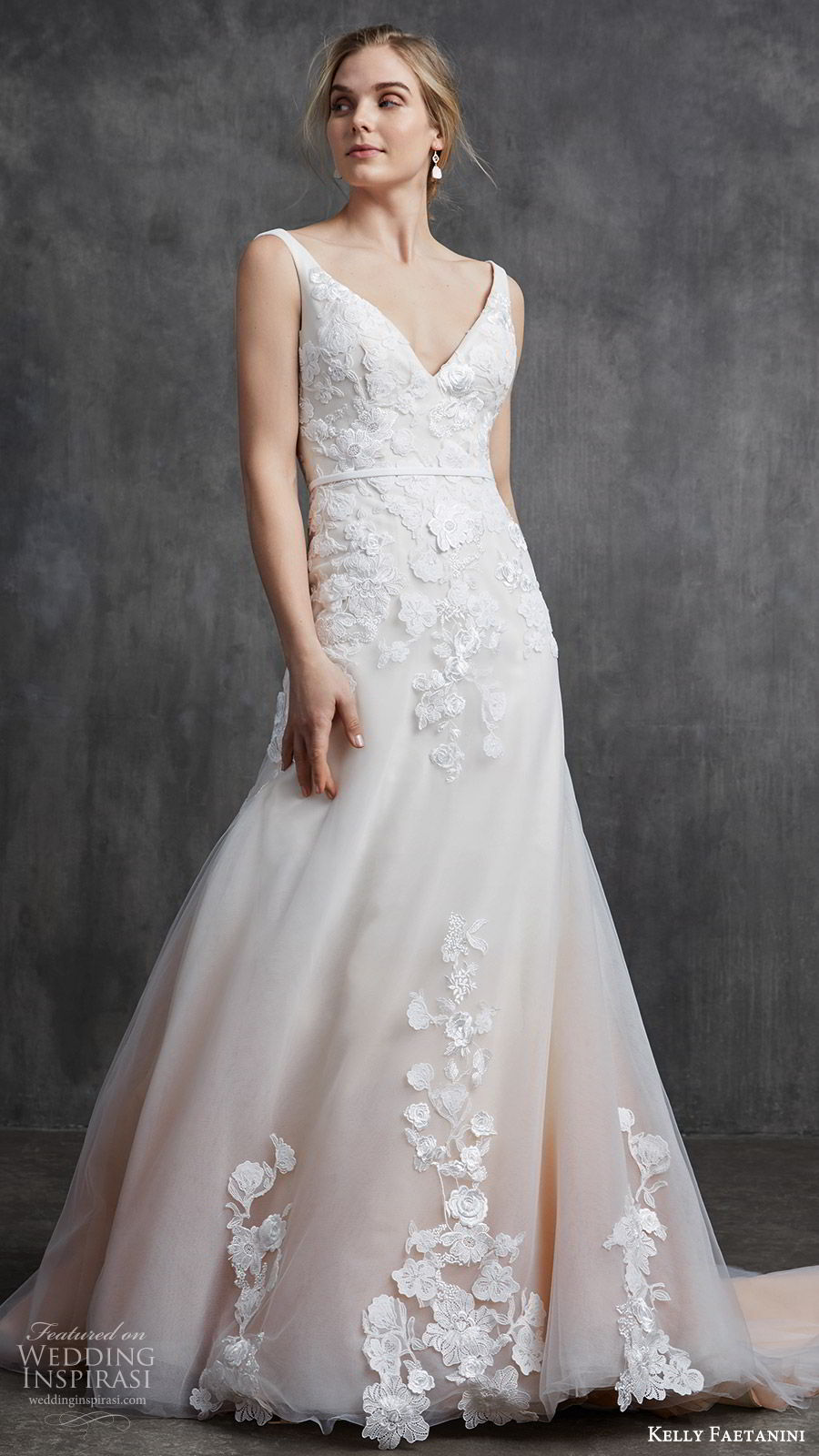 kelly faetanini spring 2020 bridal sleeveless thick straps v neckline embellished bodice fit flare modified a line (6) chapel train ombre blush mv