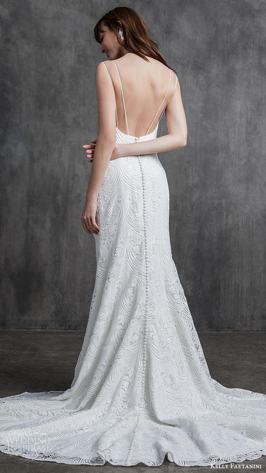 kelly faetanini spring 2020 bridal sleeveless thin strpas v neckline sheath mermaid lace wedding dress (3) low back chapel train elegant bv