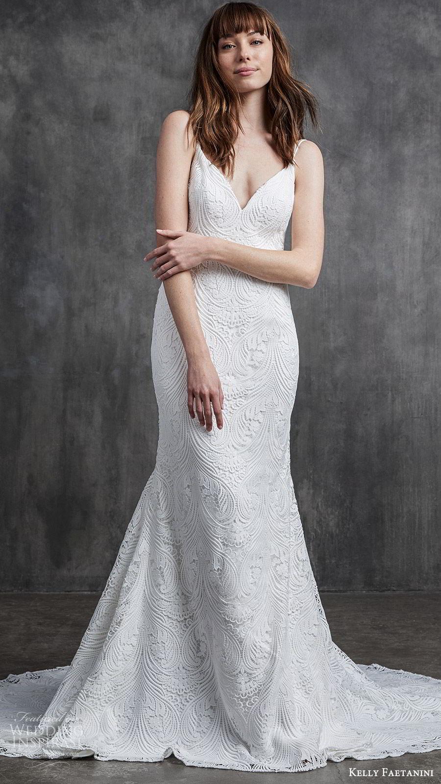 kelly faetanini spring 2020 bridal sleeveless thin strpas v neckline sheath mermaid lace wedding dress (3) low back chapel train elegant mv