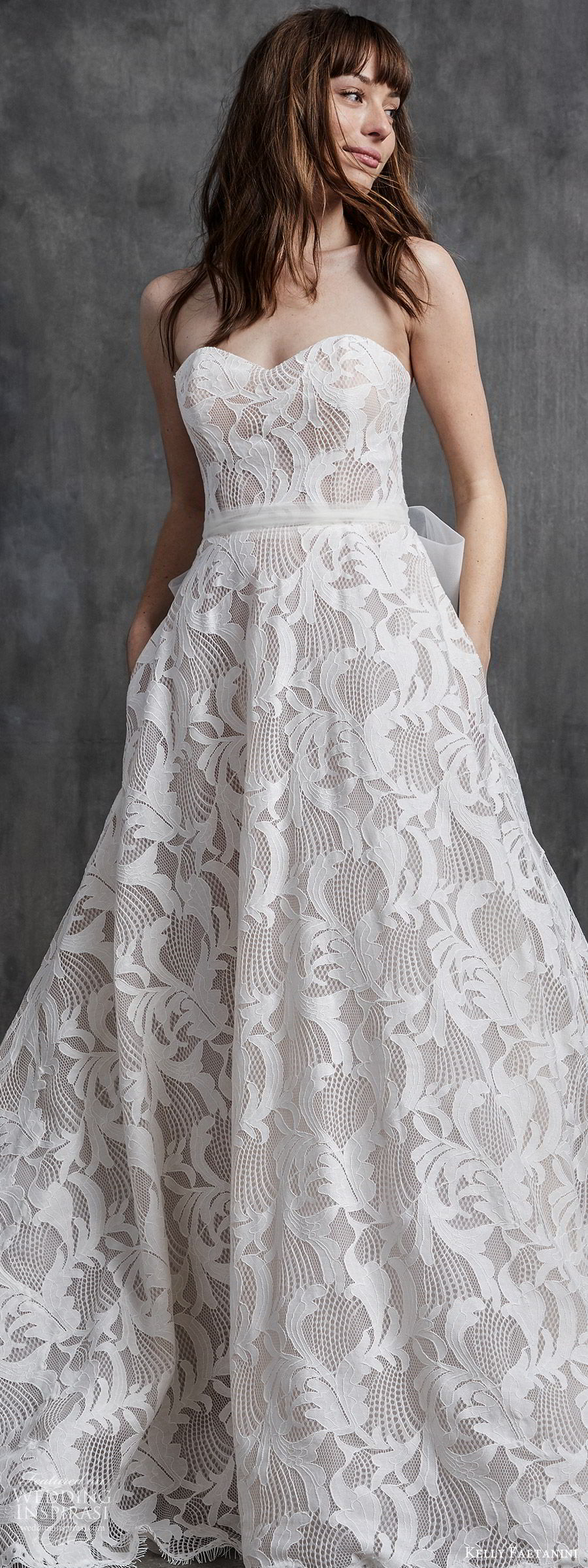 kelly faetanini spring 2020 bridal strapless sweetheart neckline fully embellished lace a line ball gown wedding dress (8) romantic modern chapel train lv