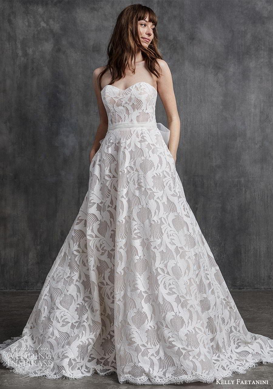kelly faetanini spring 2020 bridal strapless sweetheart neckline fully embellished lace a line ball gown wedding dress (8) romantic modern chapel train mv