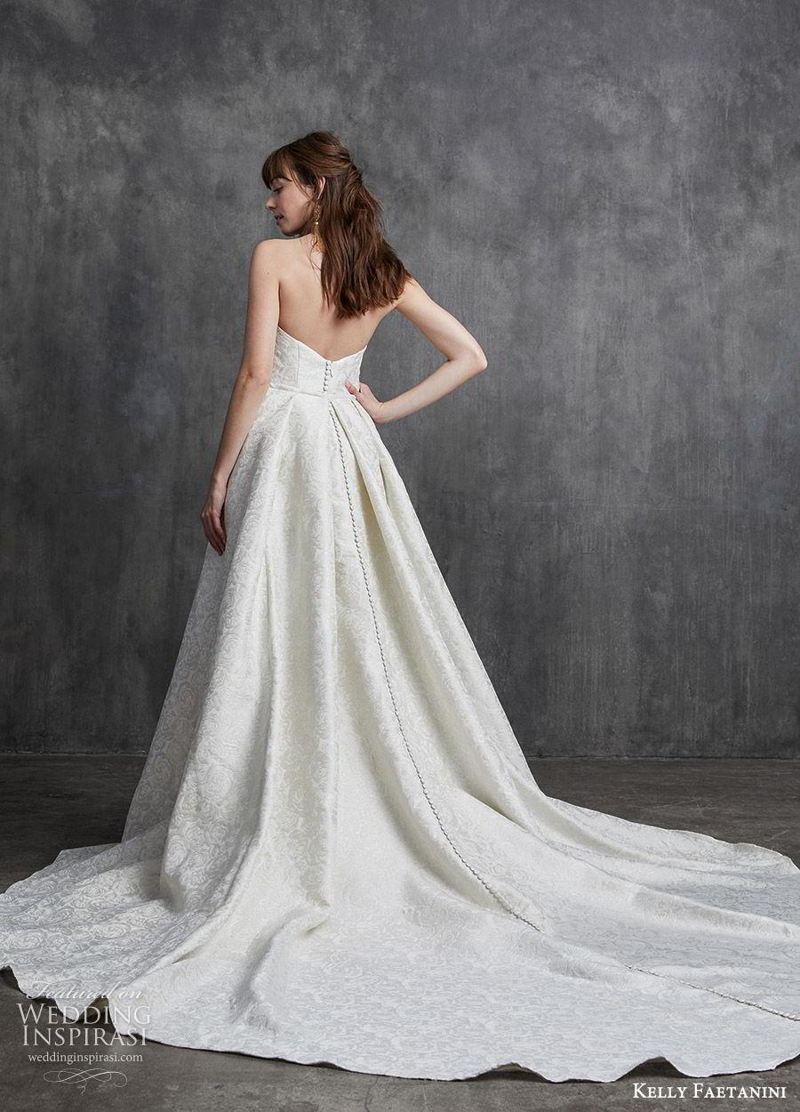 kelly faetanini spring 2020 bridal strapless sweetheart sheath mermaid embellished wedding dress (9) a line overskirt cathedral train elegant classic bv