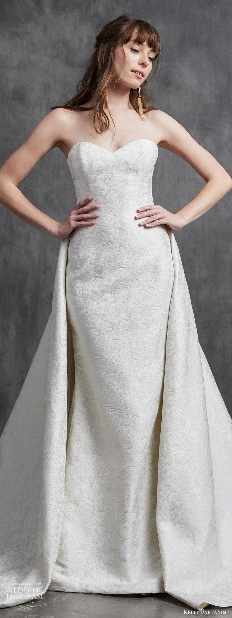 kelly faetanini spring 2020 bridal strapless sweetheart sheath mermaid embellished wedding dress (9) a line overskirt chapel train elegant classic lv