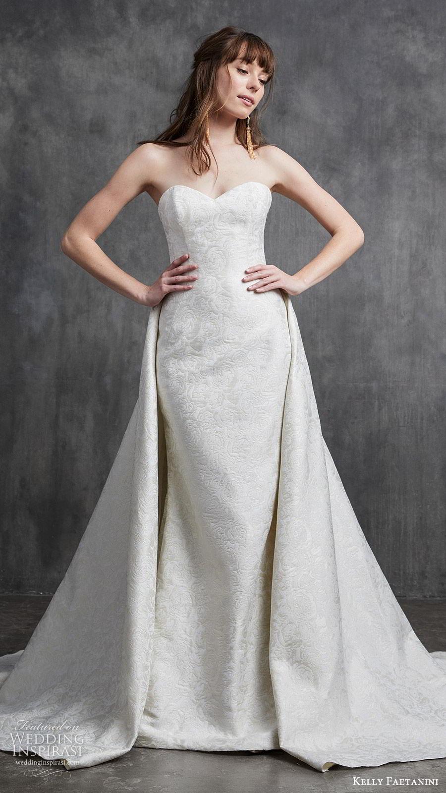 kelly faetanini spring 2020 bridal strapless sweetheart sheath mermaid embellished wedding dress (9) a line overskirt chapel train elegant classic mv