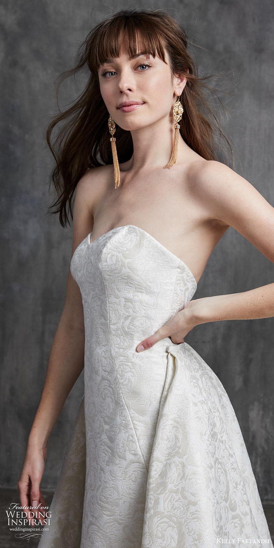 kelly faetanini spring 2020 bridal strapless sweetheart sheath mermaid embellished wedding dress (9) a line overskirt chapel train elegant classic zv