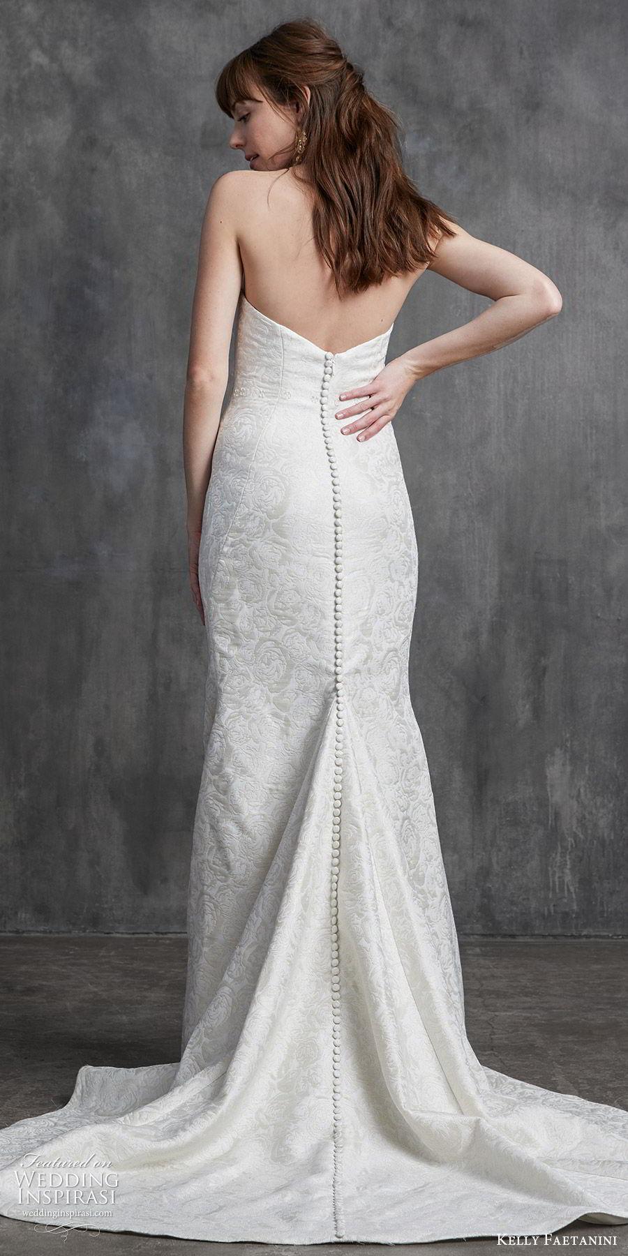 kelly faetanini spring 2020 bridal strapless sweetheart sheath mermaid embellished wedding dress (9) chapel train elegant classic bv