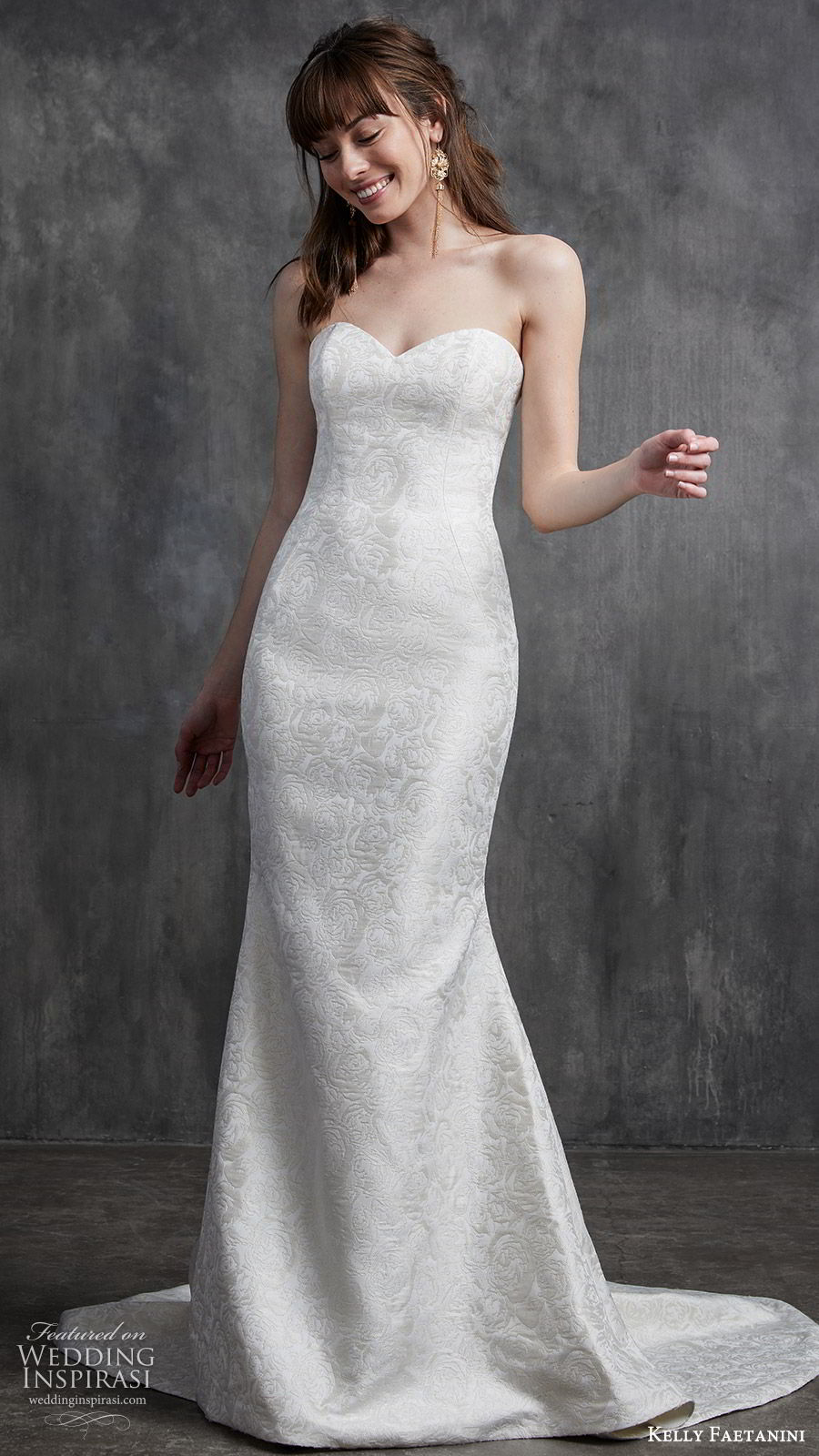 kelly faetanini spring 2020 bridal strapless sweetheart sheath mermaid embellished wedding dress (9) chapel train elegant classic mv